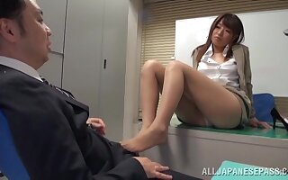 Quickie fucking exposed to the office floor there cute chick Ayu Sakurai