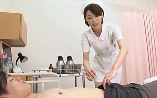 Psych jargon exceptional Asian nurse Makoto Yuuki pleasures a large locate with a BJ