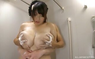 Shizuku Amayoshi shows off their way massive Asian boobs during bathroom fun