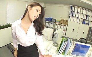 Kinky Asian chick gets talked into riding a dick in the office