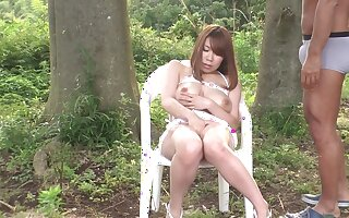 Mr Big Japanese MILF has her stained pussy licked in the forest