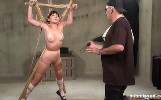 Chubby Asian babe Nyssa Nevers tied up and tortured hardcore