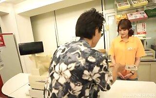 Mizushima Nana blowing a fat penis at the store like no one before
