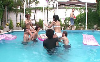 Outdoors fucking in the pool with lot of horny Japanese girls