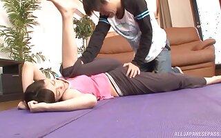 Amateur Japanese video of handsome girl having sex on the floor