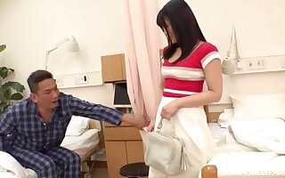Kinky Japanese babe fucked by a stranger next to her husband
