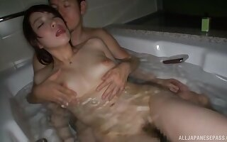 Amazing babe Mio Hayama likes to play with a dick in the bathtub