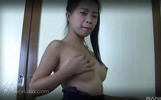 Slim professional escort masturbates for her client while blowing him