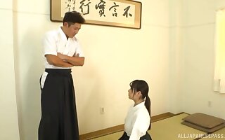 after training Nagase Minamo gets her pussy pleased by her trainer