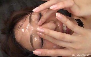 Bukkake session leads the Japanese teen to insane scenes
