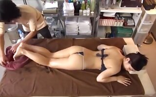 Asian with perfect big natural tits oil massage