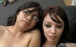 Asian slut and her GF share my shaft