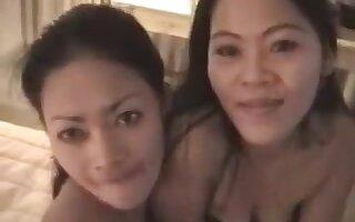 2 asian beauties banging on lucky boyfrend