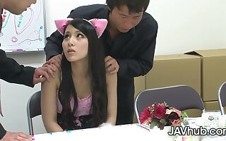 Ren Azumi fucked by her two teachers