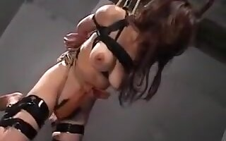 Big breasted Oriental slut gets tied up and deepthroats a l