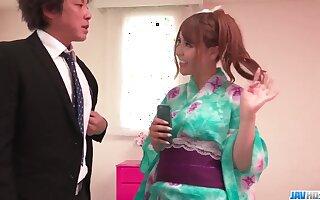 Miu Tsukino reaches orgasm with two men fucking her